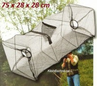 Köderfisch-Reuse mit Futterbeutel 75x28x28cm